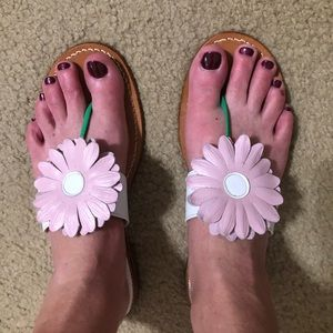 Jack Rodgers Pink Daisy Flower Leather Sandals